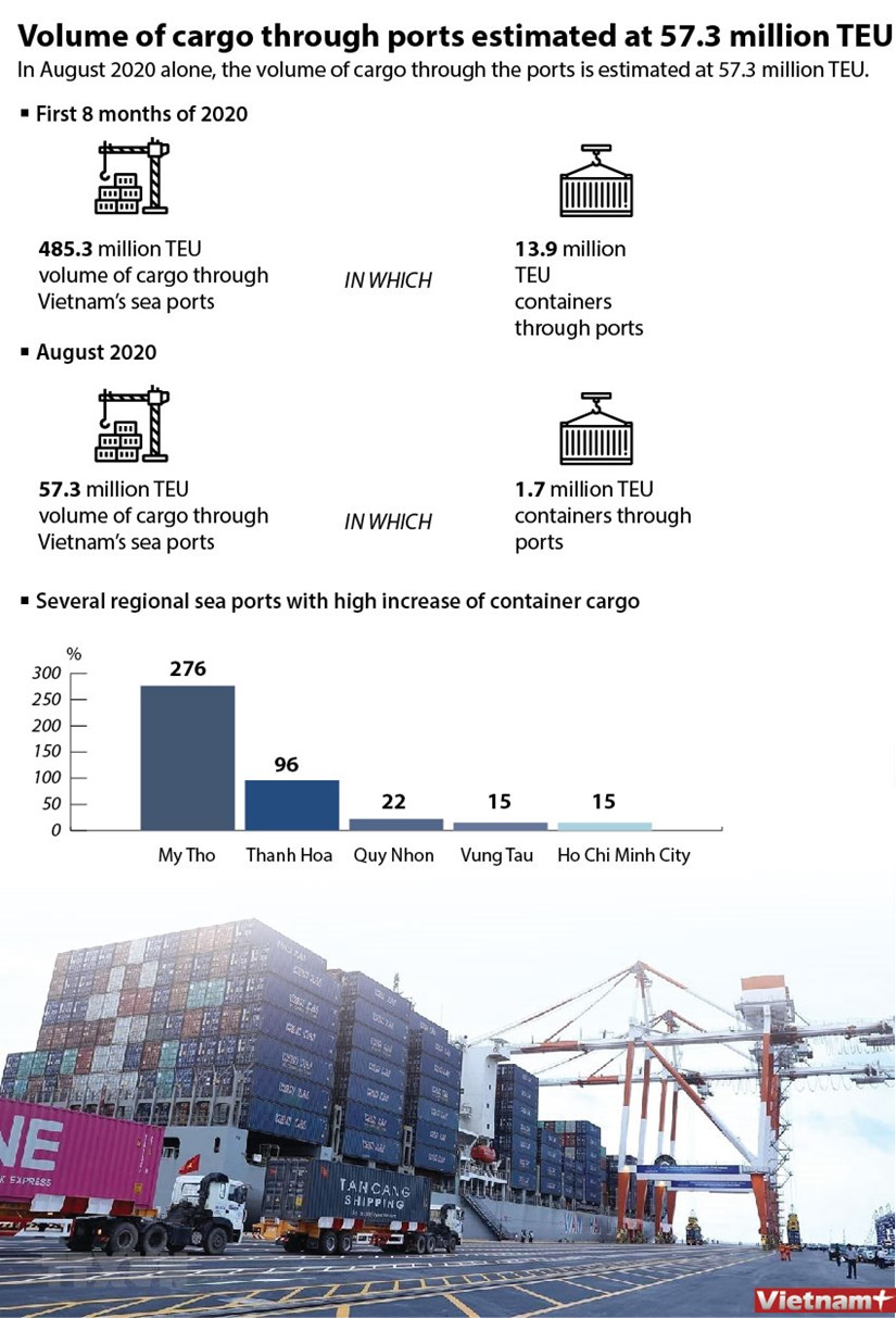 Volume of cargo through ports estimated at 57.3 million TEU hinh anh 1