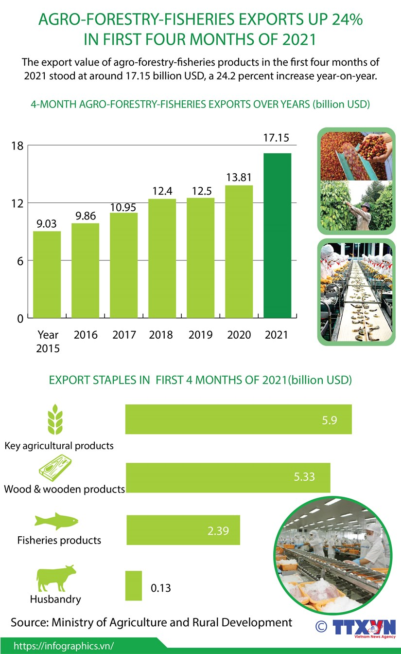 Agro-forestry-fisheries exports up 24% in first four months of 2021 hinh anh 1
