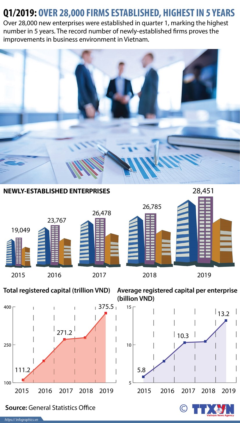 Q1/2019: over 28,000 firms established, highest in five years hinh anh 1