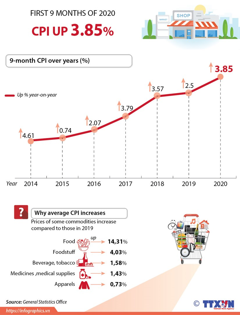 CPI in first 9 months of 2020 up 3.85% hinh anh 1