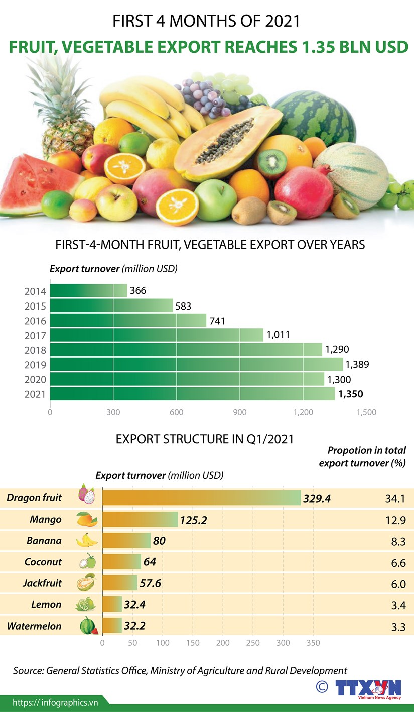 Fruit, vegetable export reaches 1.35 billion USD hinh anh 1