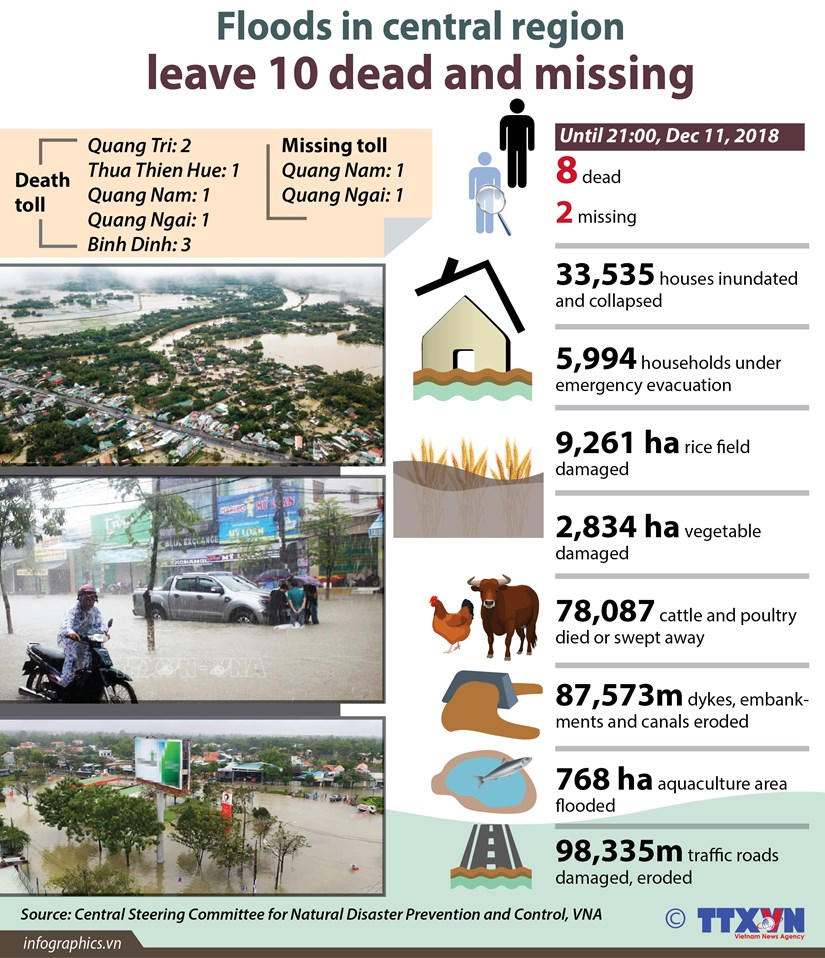 Floods in central region leave 10 dead and missing hinh anh 1