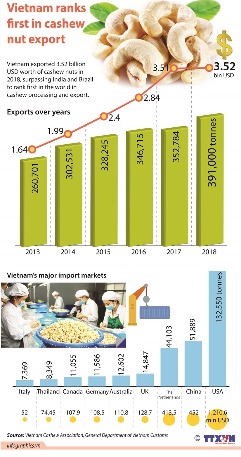 Vietnam ranks first in cashew nut export hinh anh 1