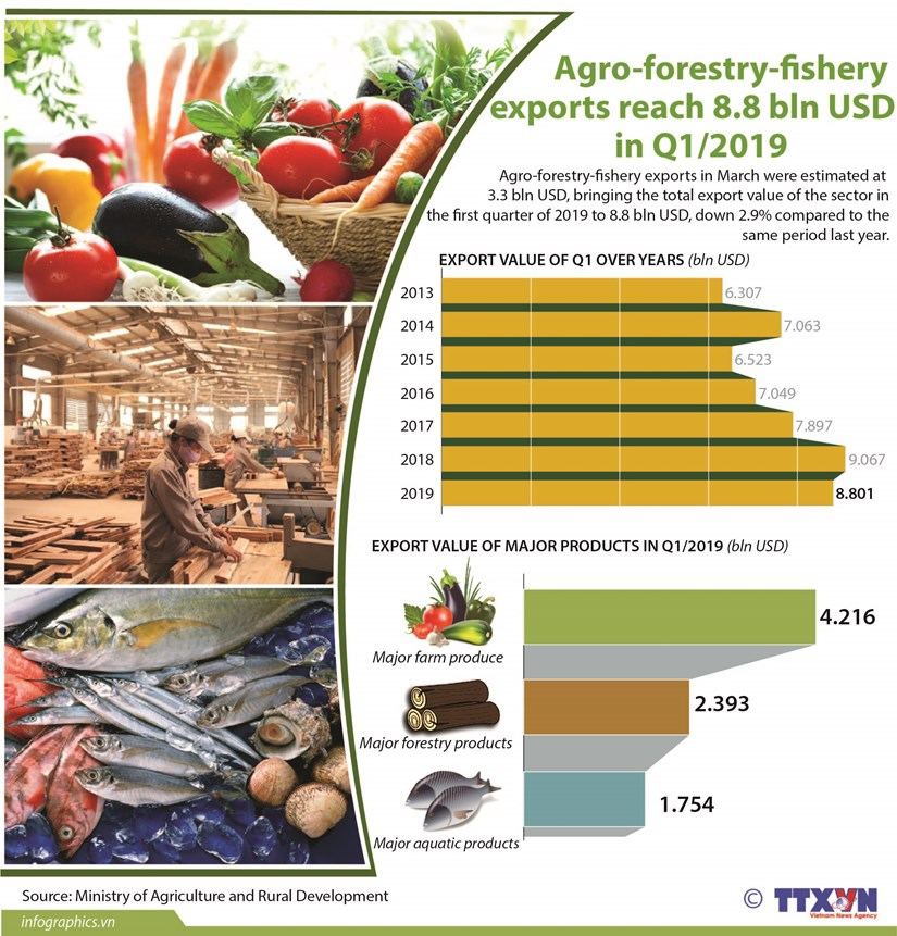 Agro-forestry-fishery exports reach 8.8 bln USD hinh anh 1