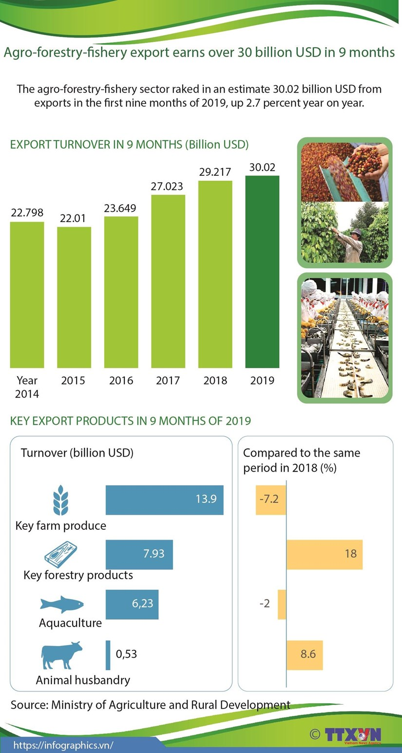 Agro-forestry-fishery export earns over 30 billion USD in 9 months hinh anh 1