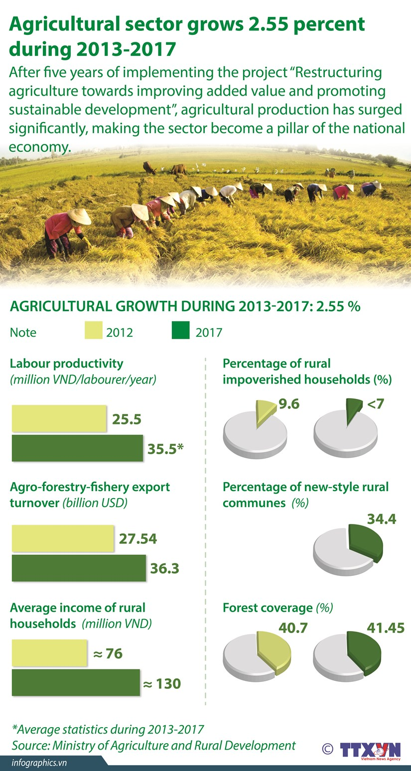 Agricultural sector grows 2.55 percent during 2013-2017 hinh anh 1