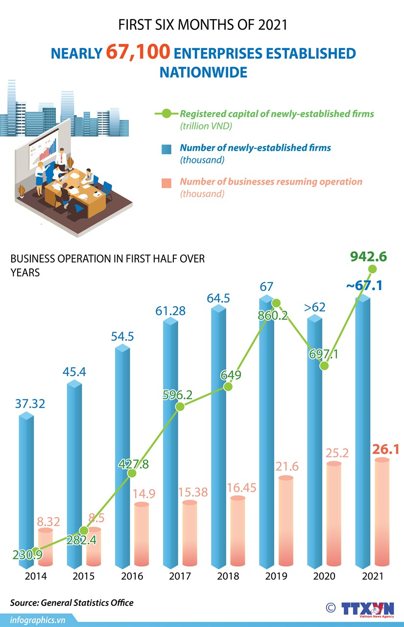 Nearly 67,100 enterprises established in first half hinh anh 1