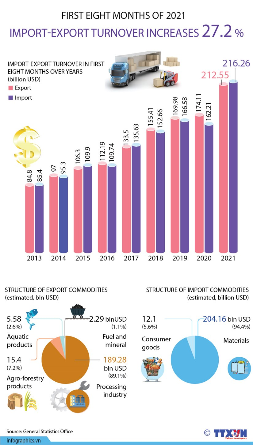 Vietnam's import-export turnover up 27.2 percent in eight months hinh anh 1