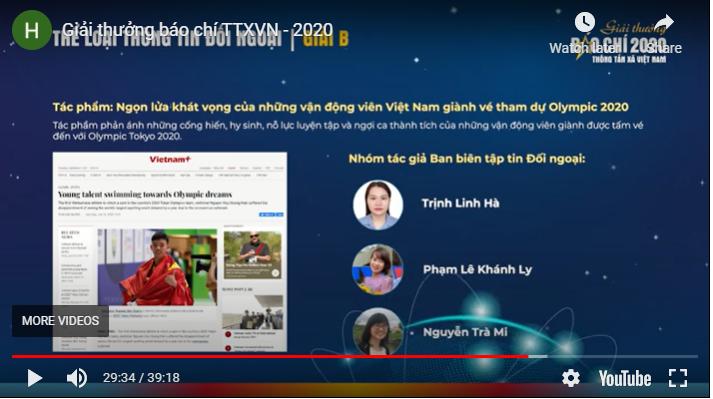 VNA Press Award 2020 affirms professionalism, cohesion, responsibility